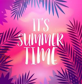 Affiche de fête d'été avec feuille de palmier et lettrage de son modèle d'affiche d'heure d'été