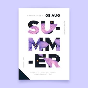 Affiche de fête d'été lettrage