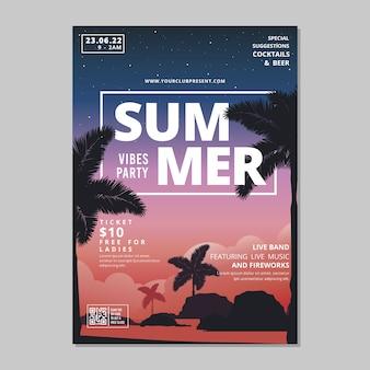 Affiche de fête d'été avec palmiers