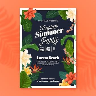 Affiche de la fête d'été tropicale
