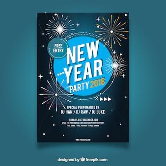 Affiche de fête avec des feux d'artifice pour la nouvelle année