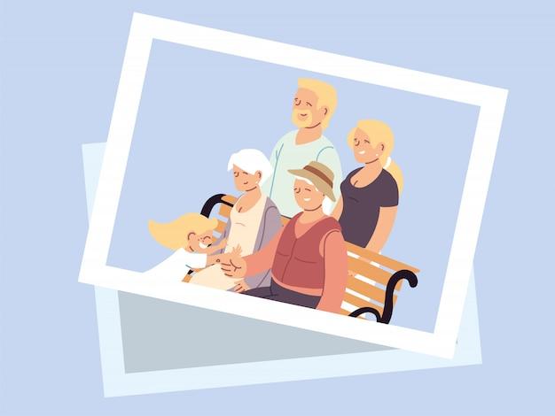 Affiche de la fête des grands-parents heureux avec photo de famille heureuse
