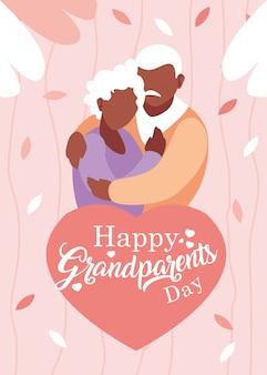 Affiche de la fête des grands-parents heureux avec vieux couple embrassé