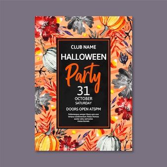 Affiche de fête halloween aquarelle