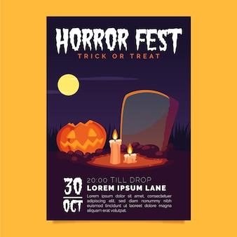 Affiche de fête d'halloween au design plat