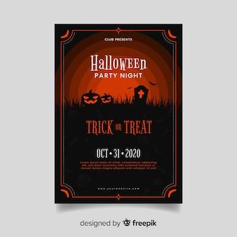 Affiche de la fête d'halloween aux tons rouges des citrouilles zombies