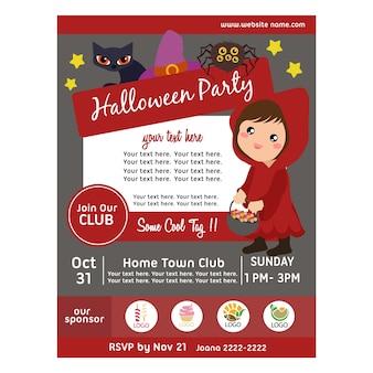 Affiche de fête d'halloween avec capuche fille