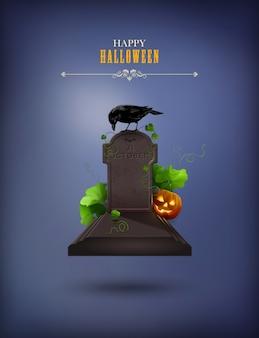Affiche de fête d'halloween avec corbeau et pierre tombale