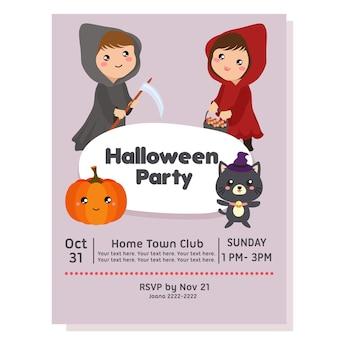 Affiche de fête d'halloween avec costume de capuche
