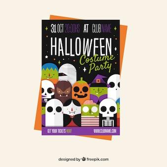 Affiche de fête de halloween avec des costumes drôles