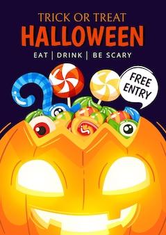 Affiche de fête halloween design dessiné à la main
