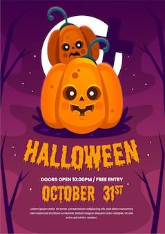 Affiche de fête halloween design plat