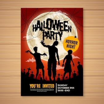 Affiche de fête d'halloween dessinée à la main