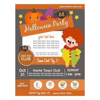 Affiche de fête d'halloween avec des enfants de clown