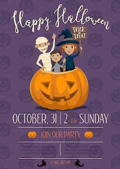 Affiche fête halloween avec les enfants