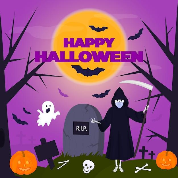 Affiche de fête d'halloween heureuse. un drôle de fantôme vole vers le cimetière. la mort avec une faux se tient près de la pierre tombale.