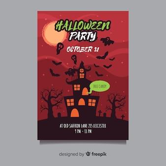 Affiche fête halloween avec la maison hantée