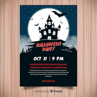Affiche de fête de halloween moderne avec un design plat