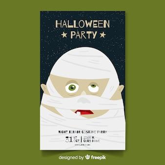 Affiche de fête d'halloween avec momie dessinée à la main