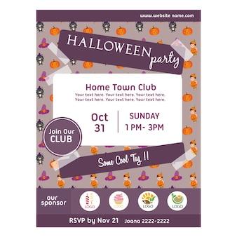 Affiche de fête d'halloween avec motif enfants citrouille