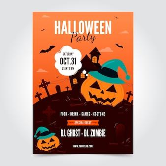 Affiche de fête d'halloween plate