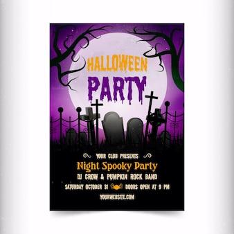 Affiche de fête d'halloween réaliste avec des tombes
