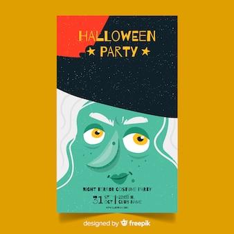 Affiche de fête d'halloween avec une sorcière dessinée à la main