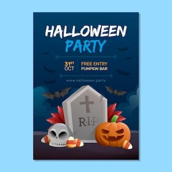 Affiche de fête d'halloween de style dessiné à la main