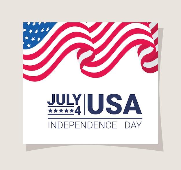 Affiche de la fête de l'indépendance avec drapeau