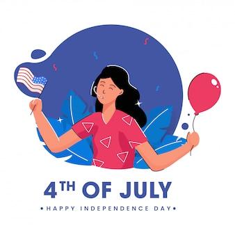 Affiche de la fête de l'indépendance heureuse avec jeune fille tenant un ballon et un drapeau américain sur fond abstrait.