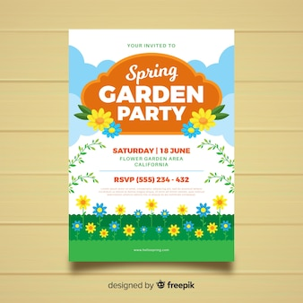 Affiche de la fête de jardin au printemps plat
