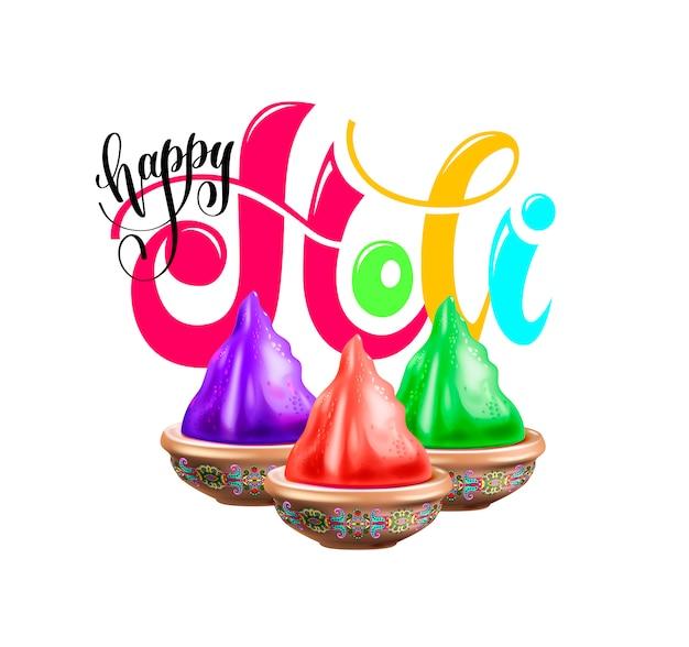 Affiche de fête joyeuse holi aux vacances de printemps indiennes