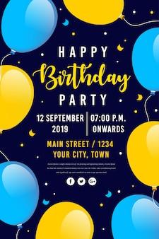 Affiche de fête de joyeux anniversaire de vecteur