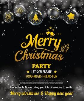 Affiche de fête de joyeux noël d'invitation.