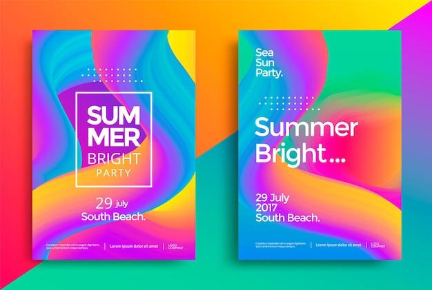 Affiche de fête lumineuse d'été. dépliant de soirée club. fond de musique de vagues de dégradés abstraits.