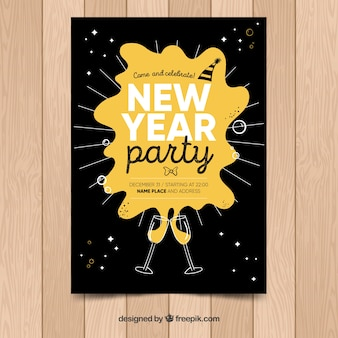 Affiche de fête de la main du nouvel an avec champagne