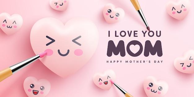 Affiche de la fête des mères ou bannière avec coeurs mignons et peinture sur fond rose.promotion et modèle de magasinage ou arrière-plan pour l'amour et le concept de la fête des mères