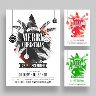 Affiche de fête de noël, bannière ou flyer design en trois options de couleur.