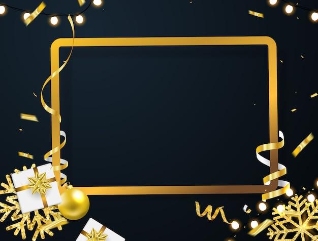 Affiche de fête de noël et bonne année fond.