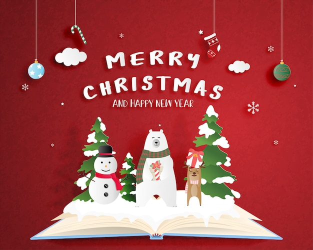 Affiche de fête de noël en papier coupé style. art numérique papier d'art. ours polaire heureux et cerf et bonhomme de neige sur un livre ouvert avec fond rouge et décoration.