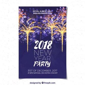 Affiche de fête de nouvel an aquarelle avec feux d'artifice