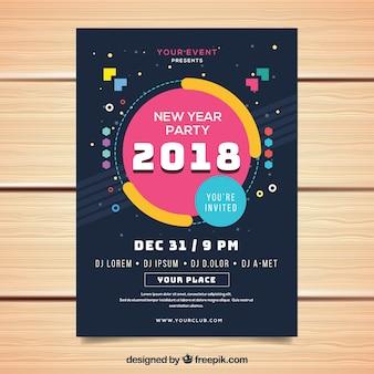 Affiche de fête de nouvel an avec un design géométrique