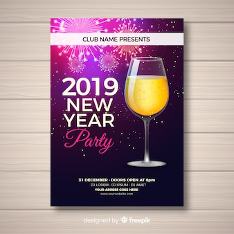 Affiche de fête de nouvel an élégant avec un design réaliste
