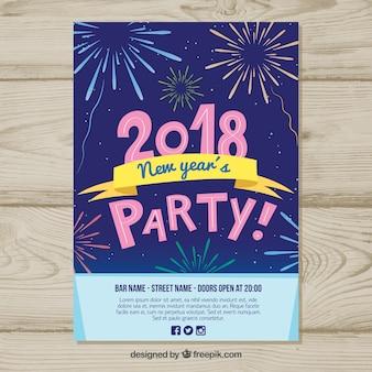 Affiche de fête de nouvel an avec des feux d'artifice dessinés à la main