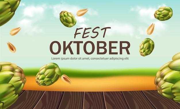 Affiche de la fête d'octobre avec du houblon