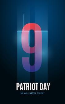 Affiche de la fête des patriotes des états-unis avec la silhouette et le texte des tours jumelles