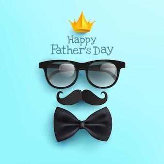 Affiche de la fête des pères heureuse avec des lunettes, du papier moustache et un noeud papillon sur bleu