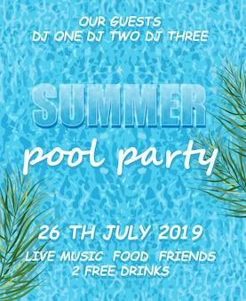 Affiche de la fête de la piscine d'été