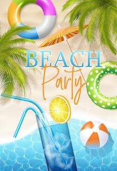 Affiche de fête sur la plage