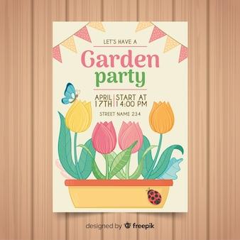 Affiche de fête printanière de pot de fleurs dessiné à la main